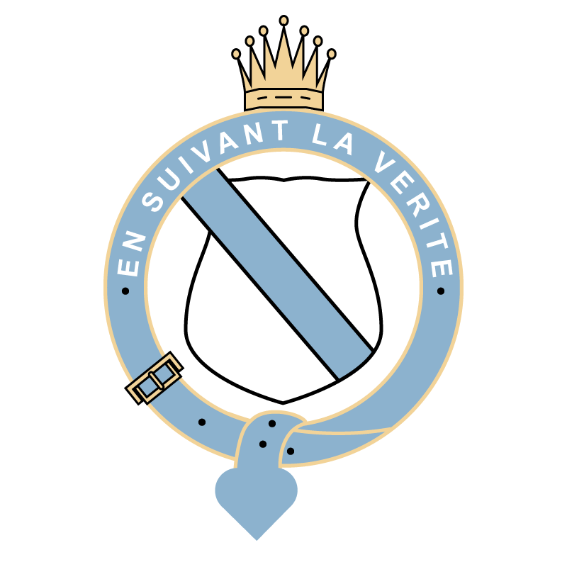 vector image of Lymington Arms crest consisting of a shield wrapped in a circular blue belt with golden crown on top