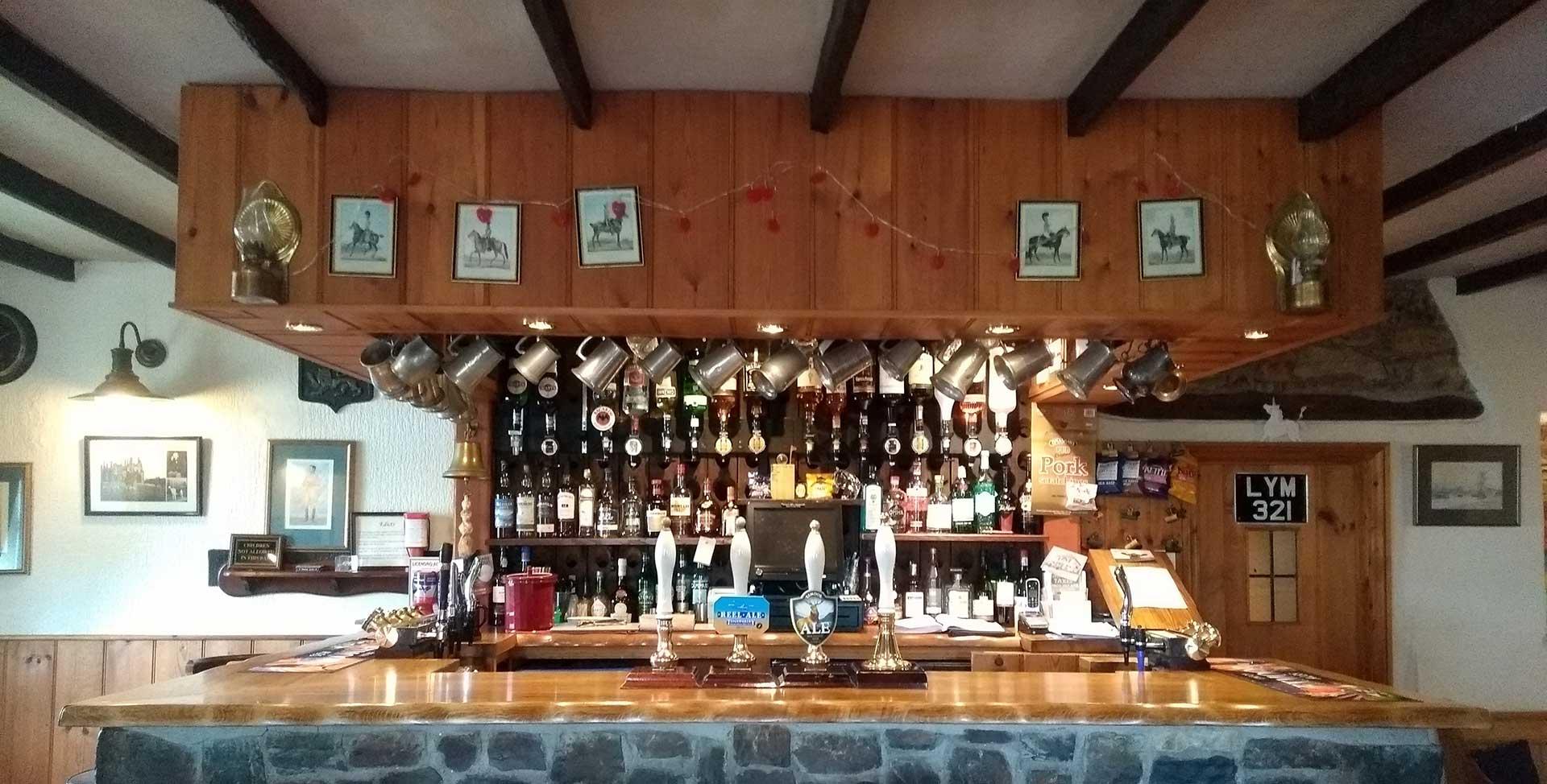 well lit bar area